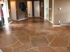 Big, Red, Stone Tile Floor freshly cleaned
