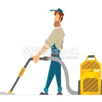 Cartoon Man Cleaning Carpet
